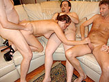 Hot WifeSucking and Fucking 3 Dicks